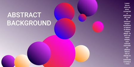 Gradients of balls shapes. Modern design of coverages. Vector geometric illustration. Halftone, 3d. Abstract background of blue, purple, red, yellow gradients beads shapes. Ilustração