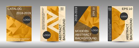 Modern abstract background. A set of modern abstract covers. Creative yellow triangle element vector. Geometric booklet cover template design. Ilustração