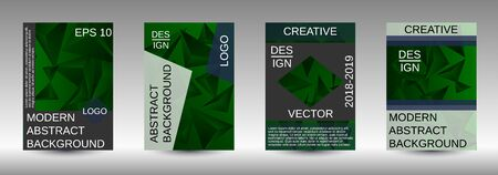 Modern abstract background. A set of modern abstract covers. Creative green triangle element vector. Geometric booklet cover template design.