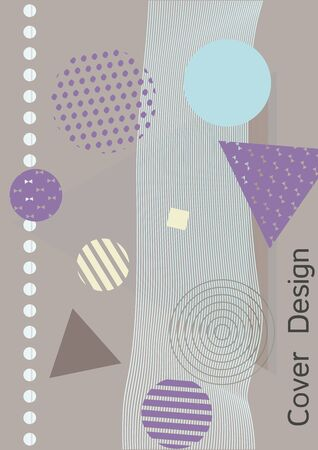 Minimum vector coverage. Modern Memphis background. Artistic geometric cover design. Fashionable  cover, banner, poster, booklet. Creative colors backgrounds. Vector. Ilustração