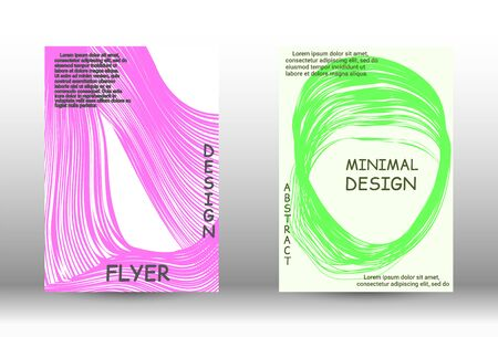 Cover design. Abstract cover with the effect of movement and distortion. Trendy geometric patterns.  Vector Design.