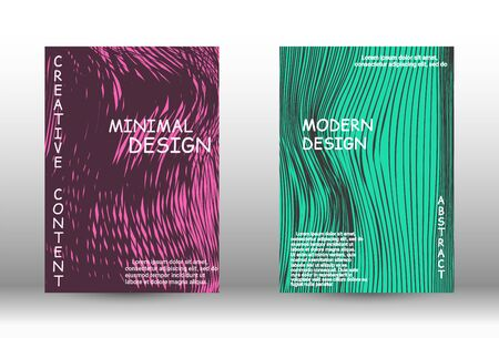 Cover design.  A set of trendy covers. Wave lines.Striped background.  Trendy geometric patterns.  Vector Design.