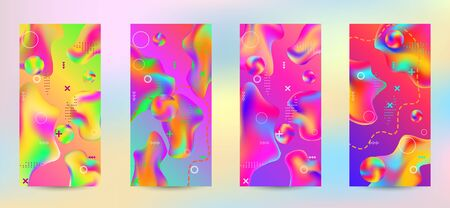Minimum vector coverage. A set of modern abstract covers. A bright smooth grid is blurred by a futuristic pattern in pink, blue, green, yellow, purple. Banque d'images - 134855971