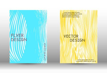 Cover design.  A set of trendy covers. Wave lines.Striped background.  Trendy geometric patterns. Vector Design. Ilustracja