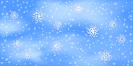Winter Christmas background with sky, heavy snowfall. Falling Christmas Shining white transparent beautiful snow. Happy new year decoration. Snowflakes, snowfall.