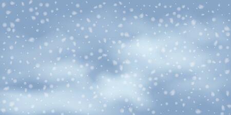 Winter Christmas background with sky, heavy snowfall. Falling Christmas Shining white transparent beautiful snow. Winter xmas decoration illustration. Snowflakes, snowfall.