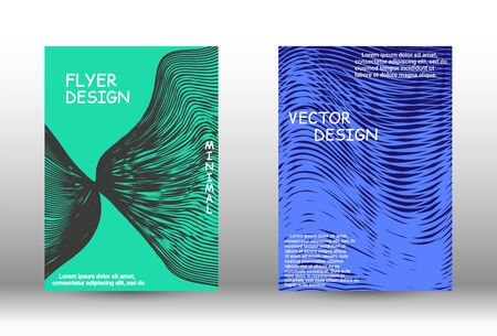 Minimal vector coverage.  A set of trendy covers. Wave lines.Striped background.  Trendy geometric patterns.  Vector Design.