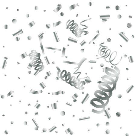 Silver glitter confetti. Light background. White abstract texture. Vector abstract graphic design. New Year Christmas. Silver glitter background. Vector elegant invitation template.