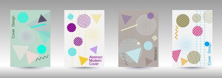 Minimum vector coverage. Modern Memphis background. Artistic geometric cover design. Fashionable  cover, banner, poster, booklet. Creative colors backgrounds. Vector. Ilustracja