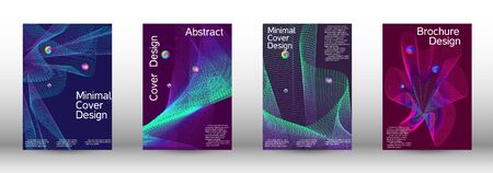 Minimum coverage of the vector. Cover design.  A set of modern abstract oblong objects from vector abstract lines. Ilustracja