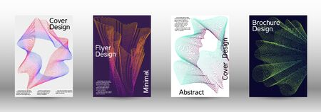 Minimum coverage of a vector. A set of modern abstract backgrounds with abstract gradient linear waves. Fashionable style. The background with is suitable for creating a banner, poster,  catalog.