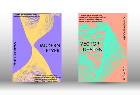 Cover design. Abstract cover with the effect of movement and distortion. Trendy geometric patterns. EPS10 Vector Design.