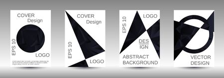 Modern design template. A set of modern abstract covers. Creative black triangle element vector. Geometric booklet cover template design.