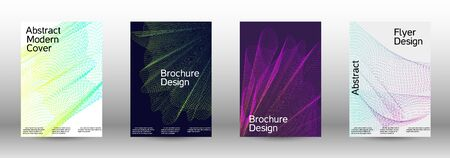Minimum coverage of a vector. Cover design template set of a with abstract gradient linear waves. Fashionable style. The background with is suitable for creating a banner, poster,  catalog.