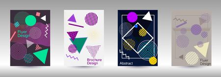 Modern design template. Abstract background in the style of Memphis.  Artistic geometric cover design. Fashionable  cover, banner, poster, booklet. Creative colors backgrounds.
