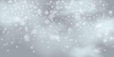 Winter  sky falling on light background. Falling Christmas Shining white transparent beautiful snow. Happy new year decoration. Snowflakes, snowfall. Ilustracja