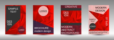 Modern design template. A set of modern abstract covers. Creative red triangle element vector. Geometric booklet cover template design. Ilustracja