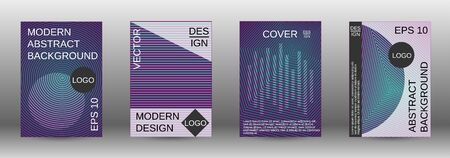 Cover design template set. Abstract cover. Positive design template. Creative backgrounds with abstract gradient linear waves to create a fashionable  banner, poster. Ilustracja