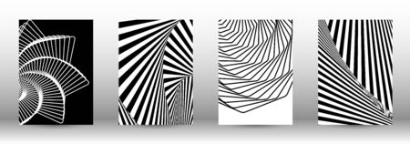 Optical contrast. Set of abstract patterns with distorted lines. Black and white striped psychedelic background. Abstract vector illustration.You can use for design covers, cards,posters. Ilustracja