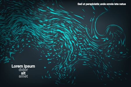 Glowing dynamic fluid particles in a flat style on a dark background.  Abstract template.  Fashionable fluid cover design. Colorful vector illustration for poster design.