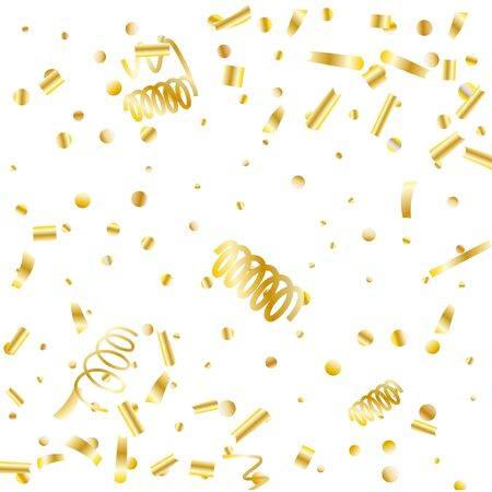 Gold glitter confetti. Light background Shiny abstract texture. Vector abstract graphic design. New Year Christmas. Gold glitter background. Vector elegant invitation template. Celebrate background. Ilustracja