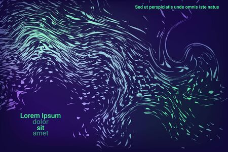 Glowing dynamic fluid particles in a flat style on a dark background.  Holiday concept. Flat design style.  Colorful vector illustration for poster design.