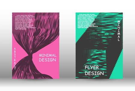 Minimal vector coverage.  A set of trendy covers. Wave lines.Striped background.  Trendy geometric patterns. EPS10 Vector Design. Ilustracja