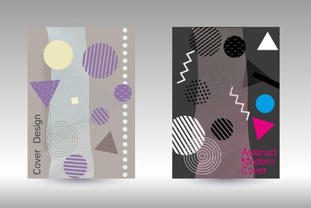 Modern design template. Abstract background in the style of Memphis.  Artistic geometric cover design. Fashionable  cover, banner, poster, booklet. Creative colors backgrounds. Vector.