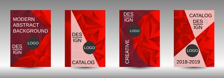 Modern abstract background. A set of modern abstract covers. Creative red triangle element vector. Geometric booklet cover template design. Ilustracja