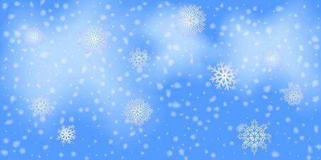Winter  sky falling on light background. Falling Christmas Shining white transparent beautiful snow. Winter xmas decoration illustration. Snowflakes, snowfall. Ilustracja