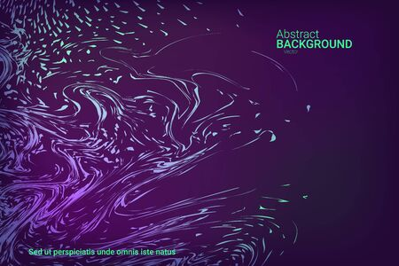Flat particles of fluid dynamics for wallpaper design.  Holiday concept. Liquid wave modern background. Colorful vector illustration for poster design. Ilustracja