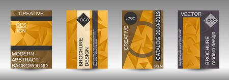 Modern abstract background. A set of modern abstract covers. Creative yellow triangle element vector. Geometric booklet cover template design. Ilustracja