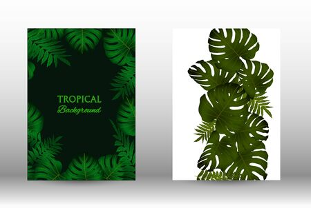Tropic covers set. Colorful tropical leaves patterns. Exotic botanical design.  Abstract nature background. Texture background. Summer vector illustration.