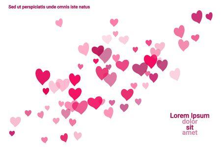 Feestelijke decoratie in de vorm van harten confetti op de achtergrond. Valentijns cadeau. Banner, postersjabloon. Liefde vector patroon. Kleurrijke vector achtergrond voor Valentijnsdag. Vector Illustratie