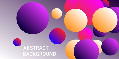 Gradients of balls shapes. Minimal coating design. Vector geometric illustration. Halftone, 3d. Abstract background of blue, purple, red, yellow gradients beads shapes.