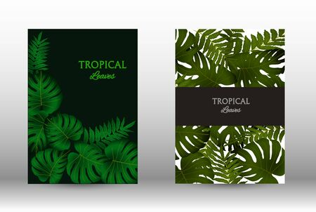 Tropic covers set. Colorful tropical leaves patterns. Exotic botanical design.  Abstract nature background. Texture background. Summer vector illustration. Archivio Fotografico - 137367782
