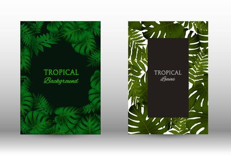 Tropic covers set. Colorful tropical leaves patterns. Exotic botanical design.  Modern Front Page in Vector. Summer vector illustration. Archivio Fotografico - 137367814