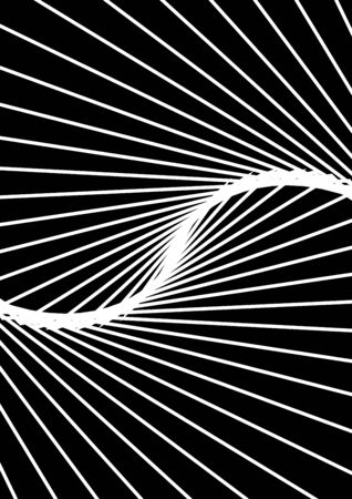 Optical contrast abstract background with distorted lines. Black and white striped psychedelic background. Abstract vector illustration. You can use for design covers, postcards, posters.