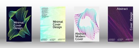 Electronic music festival poster. A set of modern abstract backgrounds with abstract gradient linear waves. Fashionable style. The background with is suitable for creating a banner, poster, catalog.