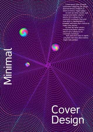 Minimal vector cover design with abstract gradient linear waves. Cover design. Vector sound flyer for creating a fashionable abstract cover, banner, poster, booklet.