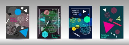 Minimum vector coverage. Abstract background in the style of Memphis.  Artistic geometric cover design. Fashionable  cover, banner, poster, booklet. Creative colors backgrounds. Banque d'images - 138245536