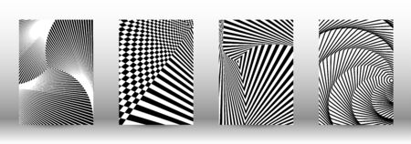 Optical contrast. Set of abstract patterns with distorted lines. Black and white striped psychedelic background. Abstract vector illustration.You can use for design covers, cards,posters. Illustration