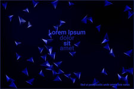 Abstract triangle confetti composition. 3D vector illustration. Futuristic geometric background. Blue three-dimensional geometric triangle in space. Illustration