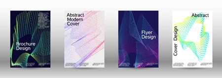 Electronic music festival poster. A set of modern abstract backgrounds with abstract gradient linear waves. Vector sound flyer for creating a fashionable abstract cover, banner, poster, booklet. Banque d'images - 138245540