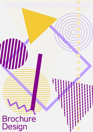 Minimum vector coverage. Abstract background in the style of Memphis.  Artistic geometric cover design. Fashionable  cover, banner, poster, booklet. Creative colors backgrounds. Vector. Banque d'images - 138245545