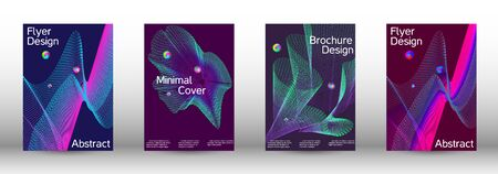 The minimal geometric coverage. Cover design.  A set of modern abstract oblong objects from vector abstract lines. Illustration