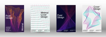 Minimum coverage of a vector. Cover design template set of a with abstract gradient linear waves. Vector sound flyer for creating a fashionable abstract cover, banner, poster, booklet. Banque d'images - 138245550
