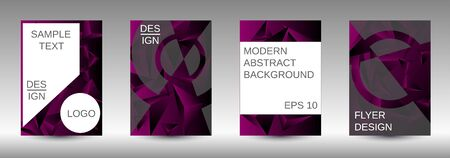 Modern abstract background. A set of modern abstract covers. Creative purple triangle element vector. Geometric booklet cover template design.