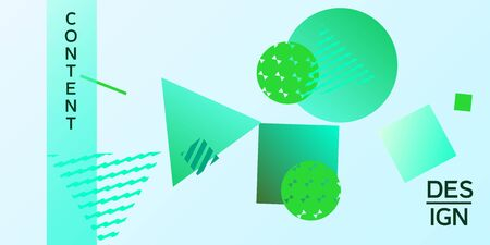 Futuristic retro 3D geometric design.  Minimal universal banner templates in memphis style. Minimalistic green background design with dynamic shapes. Vector illustration.