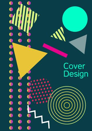 Minimum vector coverage. Abstract background in the style of Memphis.  Artistic geometric cover design. Fashionable  cover, banner, poster, booklet. Creative colors backgrounds. Banque d'images - 138245860